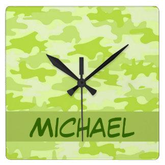 Lime Green Camo Camouflage Custom Square Wall Clock