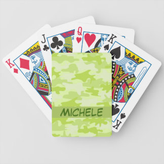 Lime Green Camo Camouflage Name Personalized Bicycle Playing Cards