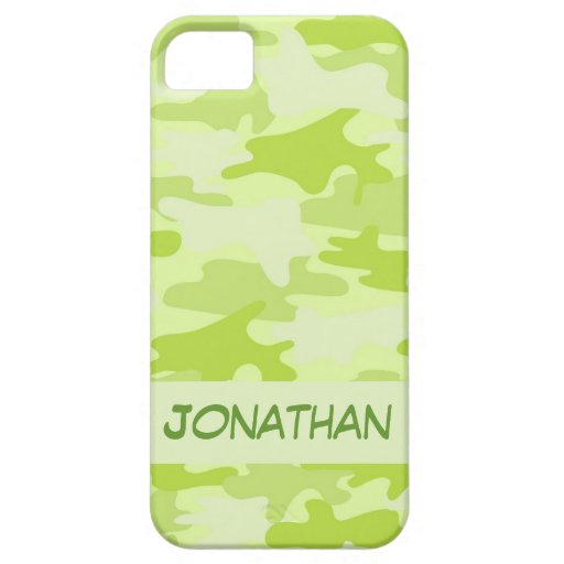 Lime Green Camo Camouflage Name Personalized iPhone 5/5S Cover