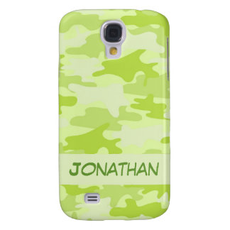 Lime Green Camo Camouflage Name Personalized Galaxy S4 Case