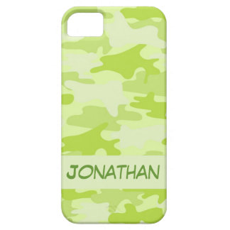 Lime Green Camo Camouflage Name Personalized iPhone SE/5/5s Case
