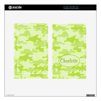 Lime Green Camo Camouflage Name Personalized Kindle Fire Skins