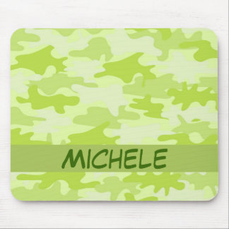 Lime Green Camo Camouflage Name Personalized Mouse Pad