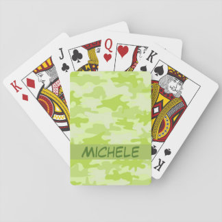 Lime Green Camo Camouflage Name Personalized Playing Cards