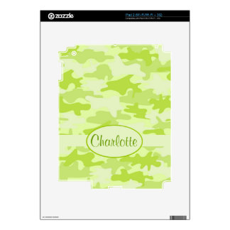 Lime Green Camo Camouflage Name Personalized Skin For iPad 2
