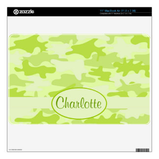Lime Green Camo Camouflage Name Personalized Skin For MacBook