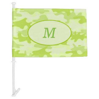 Lime Green Camouflage Camo Monogram Initial Window Car Flag