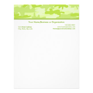 Lime Green Camouflage Custom Stationery