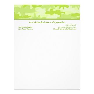 Lime Green Camouflage Custom Stationery Letterhead