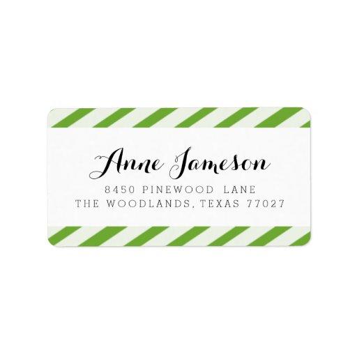Lime Green Carnival Stripes Address Labels