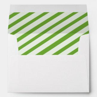 Lime Green Carnival Stripes Lined Envelopes