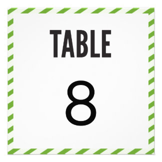 Lime Green Carnival Stripes Table Number Card