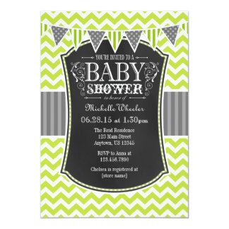 Lime Green Chalkboard Chevron Baby Shower Invite