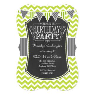 Lime Green Chalkboard Chevron Birthday Invite