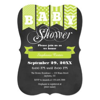 Lime Green Chalkboard Flag Baby Shower Invite