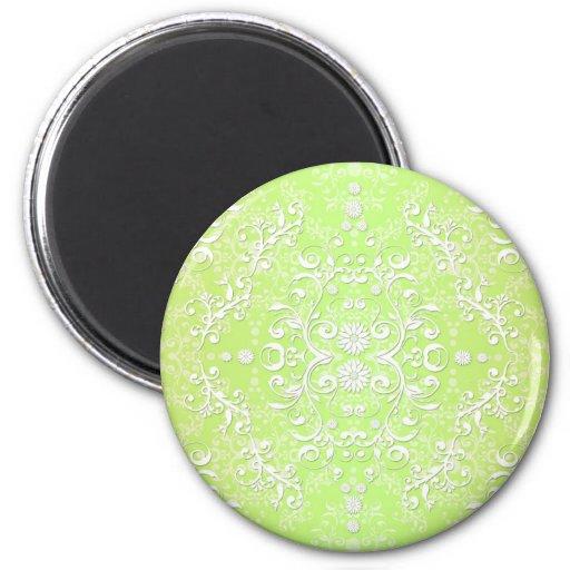 Lime Green Chartreuse Floral Damask Fridge Magnet