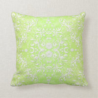 Lime Green Chartreuse Floral Damask