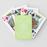 Lime Green Chartruese Floral Damask Bicycle Playing Cards