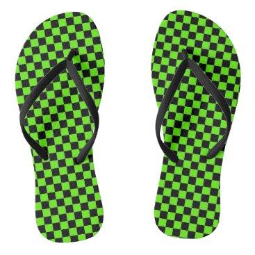 Beach Themed lime green checkered sandals