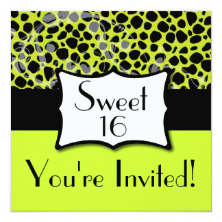 Lime Green Cheetah Sweet 16 Birthday 5.25x5.25 Square Paper Invitation Card