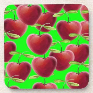 Lime Green Cherry Splash Drink Coaster