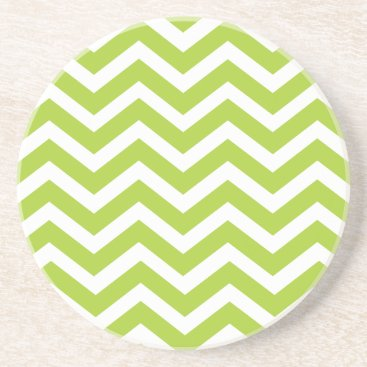 Beach Themed Lime Green Chevron Coaster