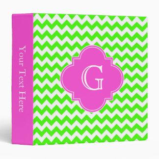 Lime Green Chevron Hot Pink Quatrefoil Monogram Binder
