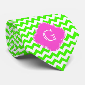 Lime Green Chevron Hot Pink Quatrefoil Monogram Tie