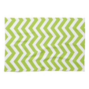 Beach Themed Lime Green Chevron Kitchen Towel