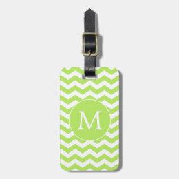 Lime Green Chevron Monogram Luggage Tag