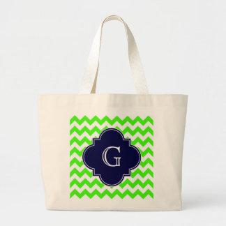 Lime Green Chevron Navy Blue Quatrefoil Monogram Bags