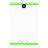 Lime Green Chevron Navy Blue Quatrefoil Monogram Stationery