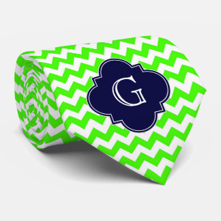 Lime Green Chevron Navy Blue Quatrefoil Monogram Tie