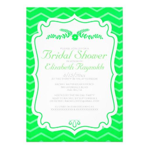 Lime Green Chevron Stripes Bridal Shower Invites Personalized Announcement