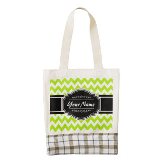Lime Green Chevron with Black Personalized Name Zazzle HEART Tote Bag