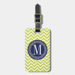 Lime Green Chevron Zigzag Personalized Monogram Travel Bag Tag