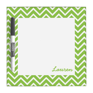 Lime Green Chevrons Dry-Erase Whiteboard