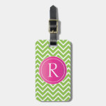Lime Green Chevrons Tags For Bags