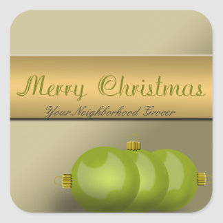 Lime Green Christmas Ornaments Square Sticker