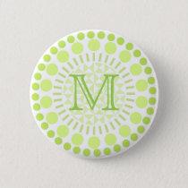 Lime green Circles Customisable Monogram Badge Button