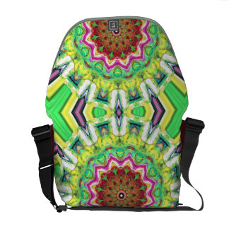 Lime Green Citrus Abstract Messenger Bag