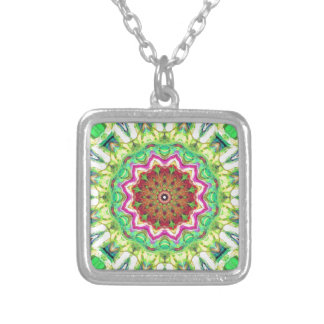 Lime Green Citrus Abstract Silver Plated Necklace
