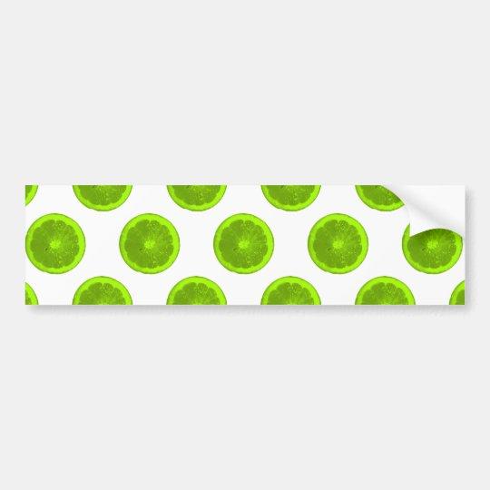 Lime Green Citrus Slice Polka Dots Bumper Sticker