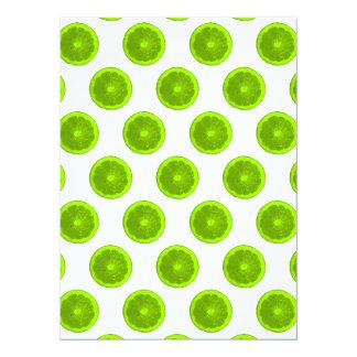 Lime Green Citrus Slice Polka Dots Card