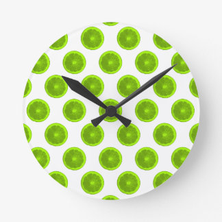 Lime Green Citrus Slice Polka Dots Round Clock