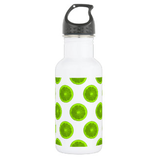 Lime Green Citrus Slice Polka Dots Stainless Steel Water Bottle