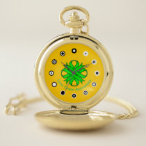 Lime Green Clover Ribbon (Bf) by K Yoncich Pocket Watch