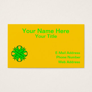 Lime Green Clover Ribbon Business Card