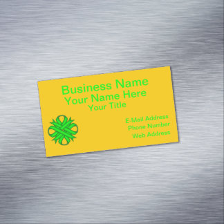 Lime Green Clover Ribbon Business Card Magnet
