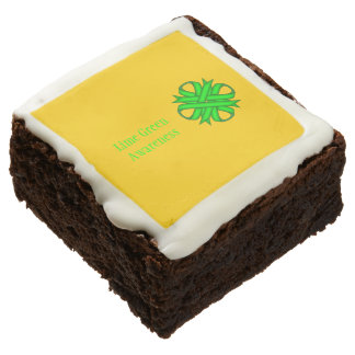 Lime Green Clover Ribbon by Kenneth Yoncich Chocolate Brownie